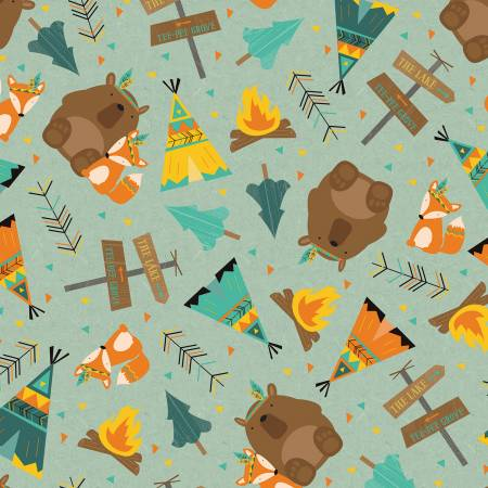 Flannel, Forest Animals Main Teal