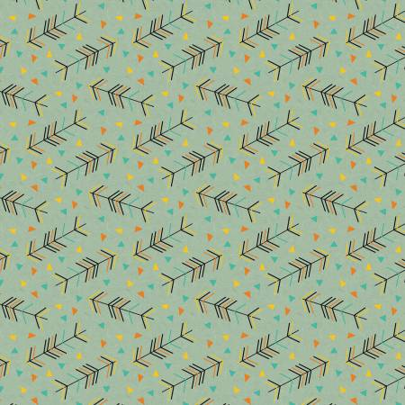 Designer Flannel, Forest Animals Arrows Teal