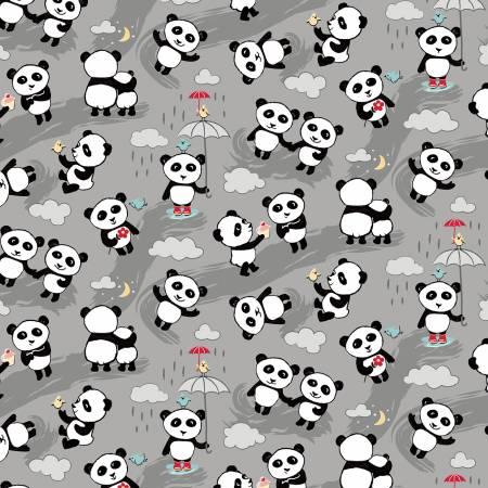 Designer Flannel, Panda Toss Gray