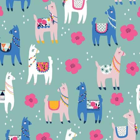 Designer Flannel, Novelty Llamas Teal
