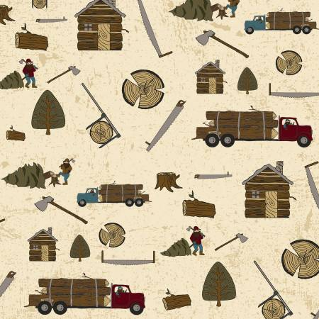 Lumberjack Flannel on Cream  - Trees, Logs, Saws, Axes, Trucks, and Huts - by Buttermilk Basin Designs for Riley Blake