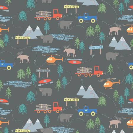 Forest Scene on Gray Flannel: Forest by RBD Designers for Riley Blake