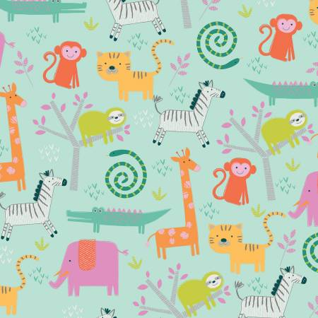 Designer Flannel, Jungle Animals Mint