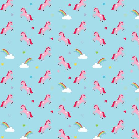 Designer Flannel, Once Upon A Time Unicorns Blue