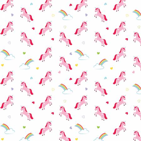 Designer Flannel, Once Upon A Time Unicorns White