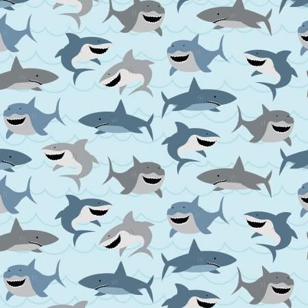 Designer Flannel, Novelty Sharks Ltblue