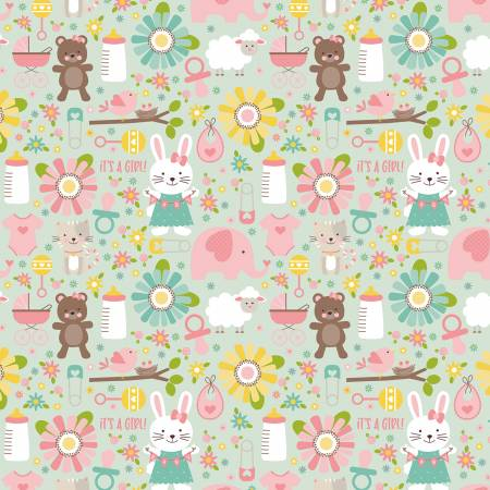 Riley Blake Designer Flannel Sweet Baby Girl on Mint by Lori Whitlock