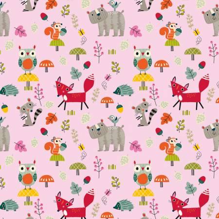 Riley Blake Designer Flannel Forest Animals on Pink