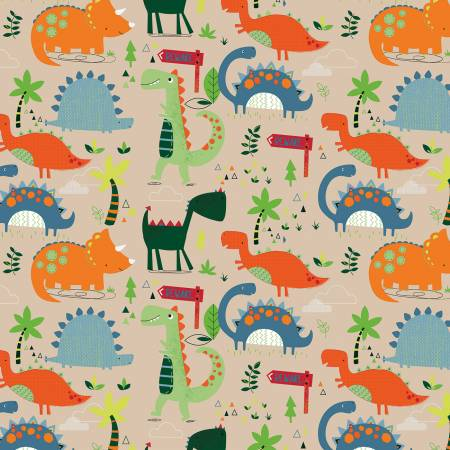 Riley Blake Designer Flannel Dinosaurs on Tan