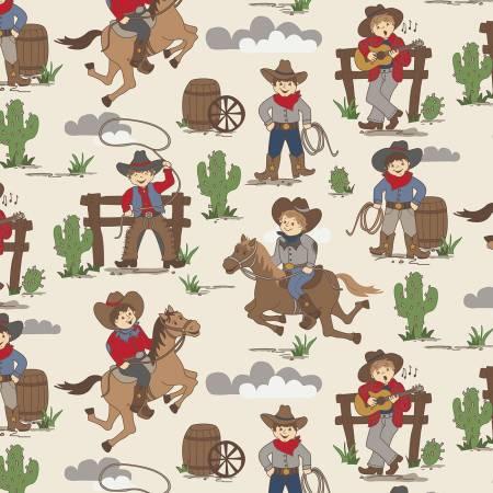 Designer Flannel Cowboy Main Cream