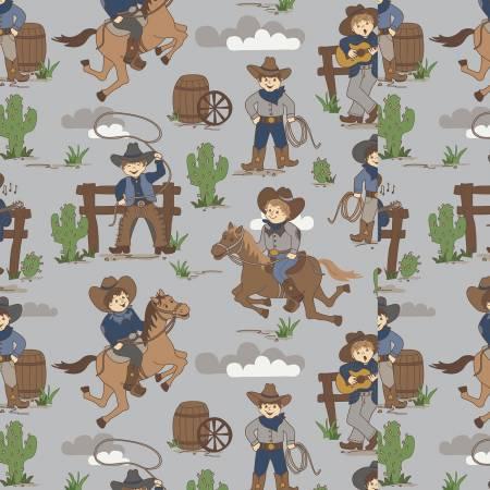 Riley Blake Designs Flannel Cowboy Main Gray F8218