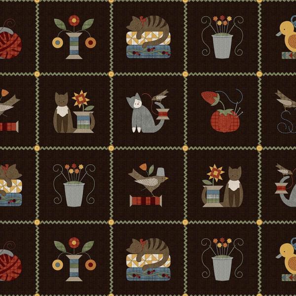 Espresso Patchwork Squares Flannel