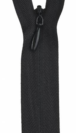 Zipper 12-14in Black Invisible Polyester