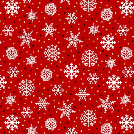 Snow Bird Red Snowflakes 2-ply Flannel