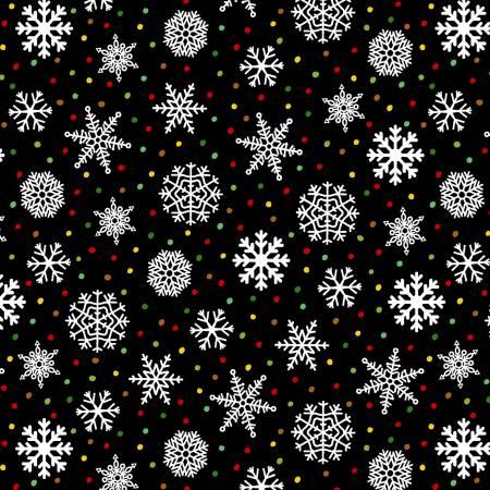 Snow Bird Black Snowflakes 2-ply Flannel