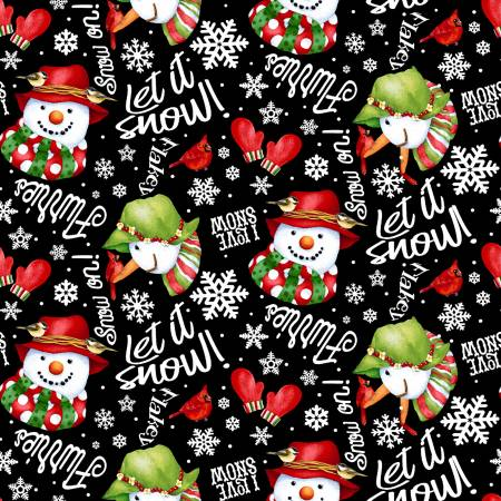 F9123-99 Black Words & Snowman Tossed 2-ply Flannel (20G)