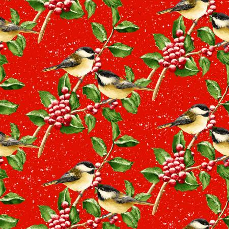 Snow Bird - Red Chickadees on Berry Branches