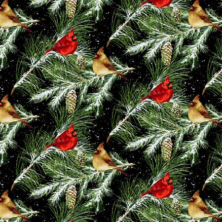 Snow Bird Flannel Cardinals / Pine on Black