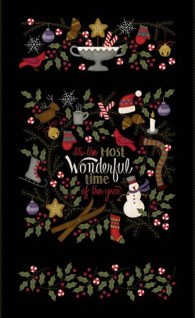 Black Most Wonderful Time Panel 27in Flannel