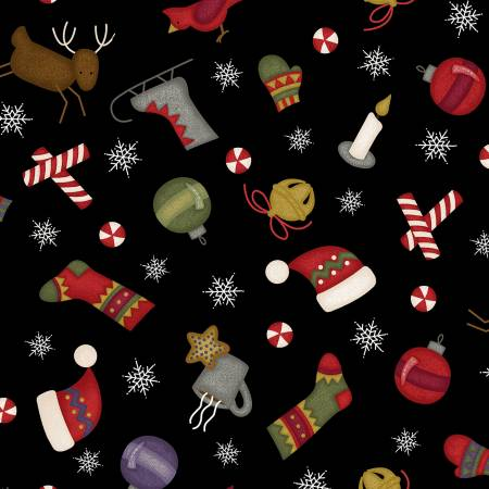 Most Wonderful Time Flannel Black Tossed Winter Motifs