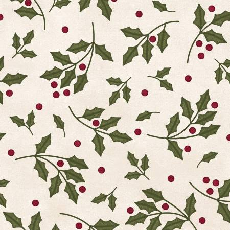 Most Wonderful Time Cream Holly Flannel  F9213M-E