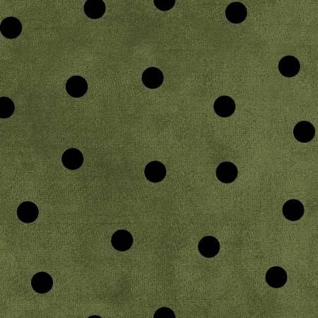 Most Wonderful Time Flannel Green/Black Big Dots