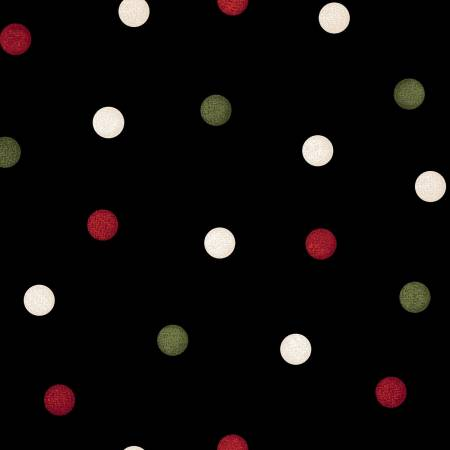Most Wonderful Time Flannel Black/Green/Red Big Dots
