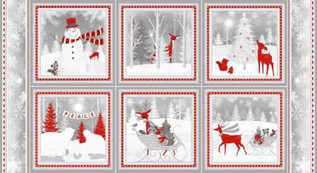 White 24in repeat 10in blocks Winter Scenes Flannel