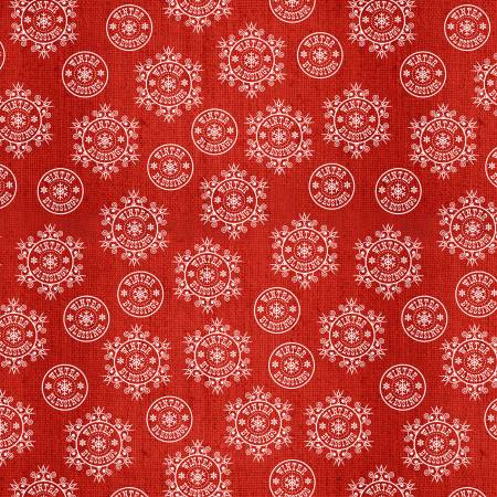 Red Snowflake on Texture Flannel