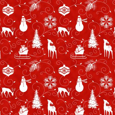 Henry Glass - Winter Frost Flannel - Red Graphic Motifs
