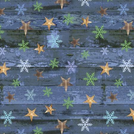 Blue Stars on Woodgrain Flannel F9253-77