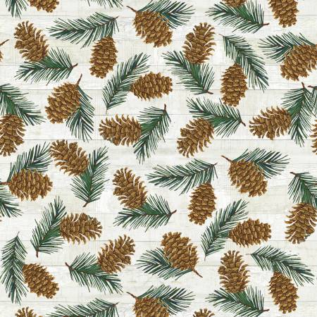 Beige Pinecones Flannel F9254-43