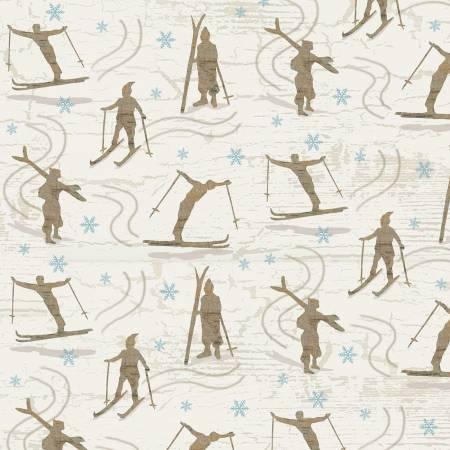 Beige Skiers Flannel F9257-44
