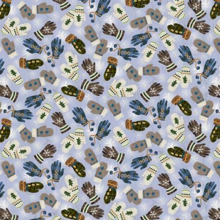 Blue Mittens & Gloves Flannel f9258-11