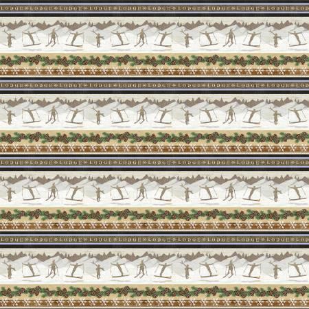 Beige Novelty Winter Stripe Flannel f9261-33