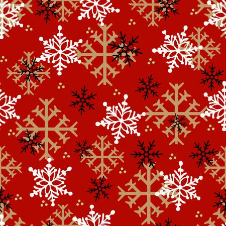 Henry Glass Flannel Gnomies 9268-88  Red Snowflake