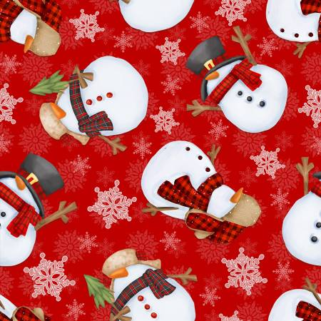 Red Background with Tossed Snowmen Flannel Gnomies