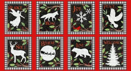 Winter Elegance Flannel Fabric Block Panel - Red/Black from Henry Glass Fabrics