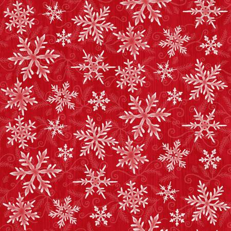 Winter Elegance Red Snowflakes Flannel