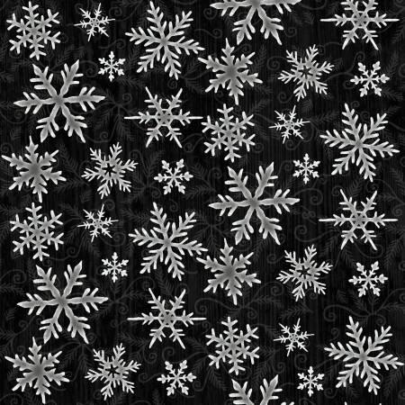 Winter Elegance Black Snowflakes Flannel