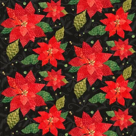 Winter Elegance Red Poinsettias Flannel