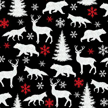 Winter Elegance Black Textured Motifs Flannel