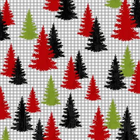 Winter Elegance Multi Colored Trees Flannel