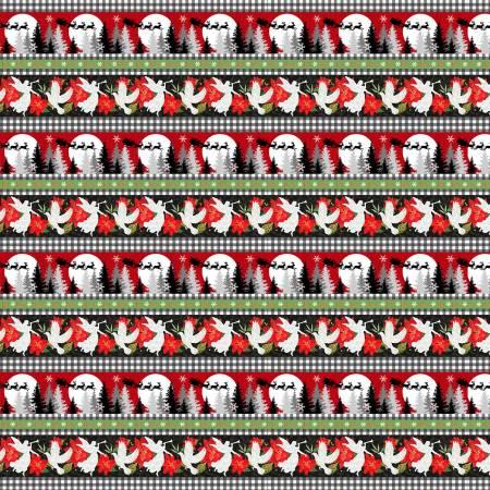 Winter Elegance Multi Angels & Poinsettias Novelty Stripe Flannel