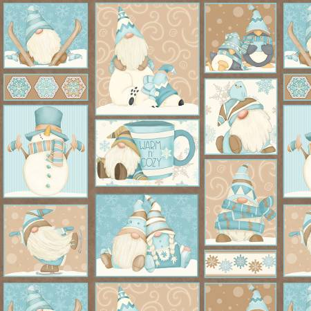I Love Sn'Gnomies Aqua Gnome Patchwork Flannel