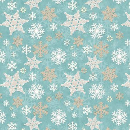 Aqua Snowflake Allover Flannel