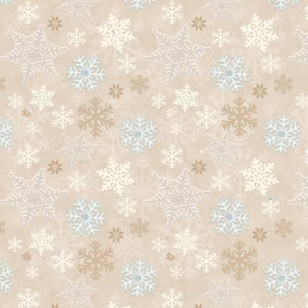 I Love Sn'Gnomies Beige Snowflake Allover Flannel