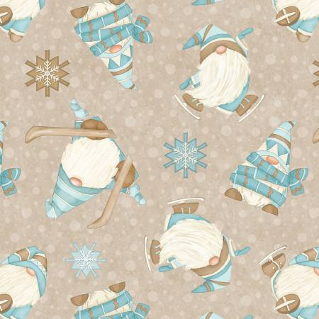 Beige Skiing Gnomes Flannel