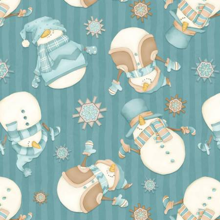I Love Sn'Gnomies Dark Aqua Tossed Snowmen Flannel