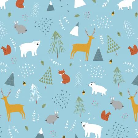 Designer Flannel Forest Main Blue